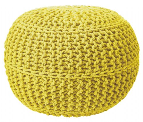 100% COTTON ROUND FOOT STOOL BRAIDED HANDMADE CUSHION DOUBLE KNITTED POUFFE YELLOW COLOUR